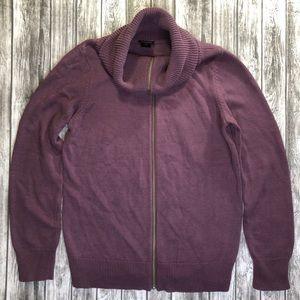 Ann Taylor Sweater Jacket Purple Plum Larg…